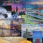 A collage of images related to travel and beautiful places on the planet with wording: adventure freedom romance