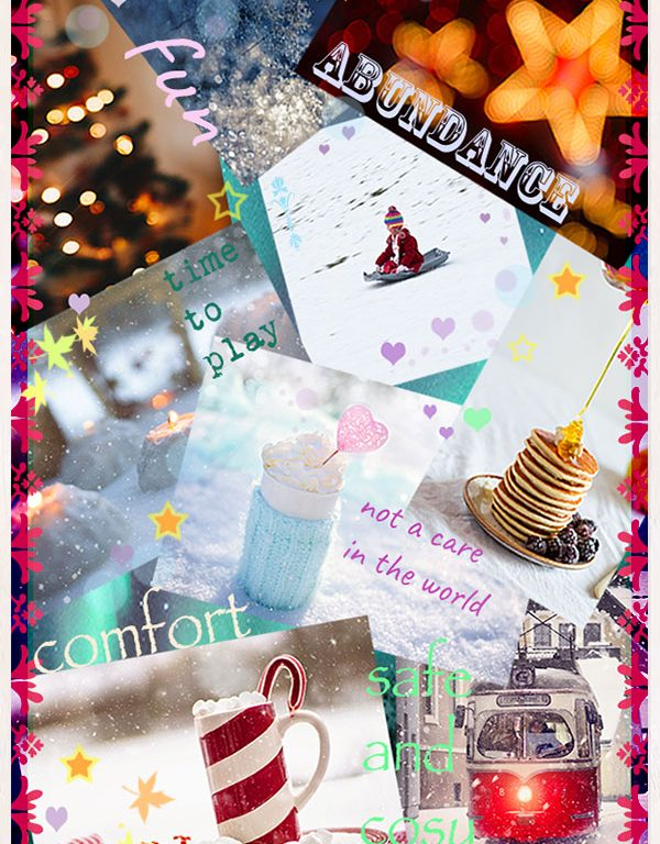 Collage of images and words depicting abundance. Including snow, christmas lights, hot chocolate, marshmallows, pancakes.